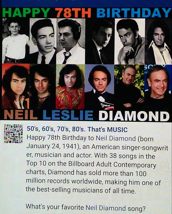 "My favorite Neil Diamond song is ""SWEET CAROLINE\"" ! What\s ours? HAPPY BIRTHDAY NEIL DIAMOND!!!"