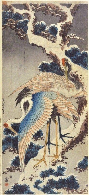 Katsushika Hokusai (1760-1849)  Cranes on Branch of Snow-covered Pine, late 1820s  #MuseoIdeale   #GoodNightTwitterWorld https://t.co/CVcPDt2jTV