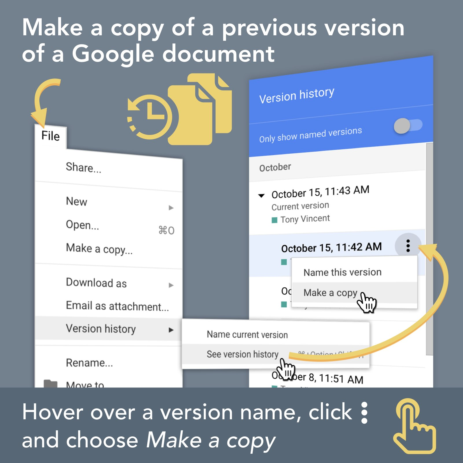 ⏪ The history of a Google document's revisions can be found in the Version History. It's reassuring to know that you can always retrieve a past version of a document. #GoogleEDU #ClassyGraphics https://t.co/ulZJbs7CNI