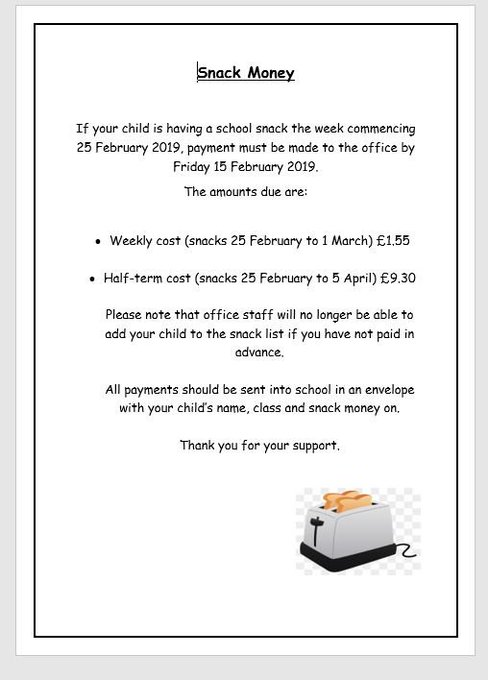 If your child would like school snack after half term see below: https://t.co/aO7XzWc2sF