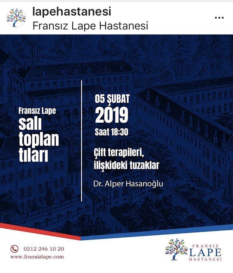 Bugün18.30 da @AlperHasanoglu ilişki sorunlarını anlatıyor #lapesalıtoplantıları @LapeHastanesi https://t.co/1CXCCfLVky