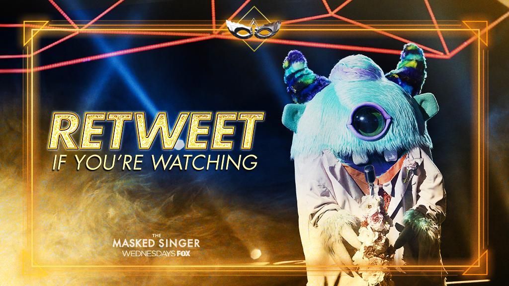 RT @MaskedSingerFOX: Here we go! RETWEET if you're watching #TheMaskedSinger semifinals. ???? https://t.co/8KqowbhdxV