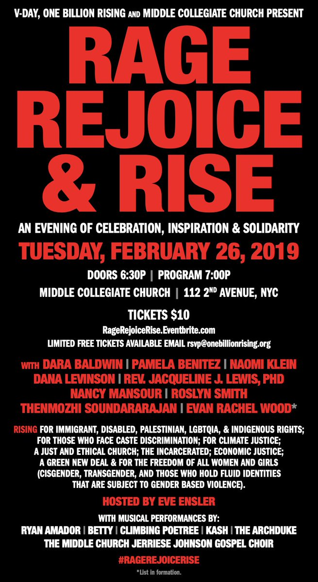 #NYC this is going to be a transformative night !! @VDay #OneBillionRising #RageRejoiceRISE https://t.co/nV5g7P0ZZK