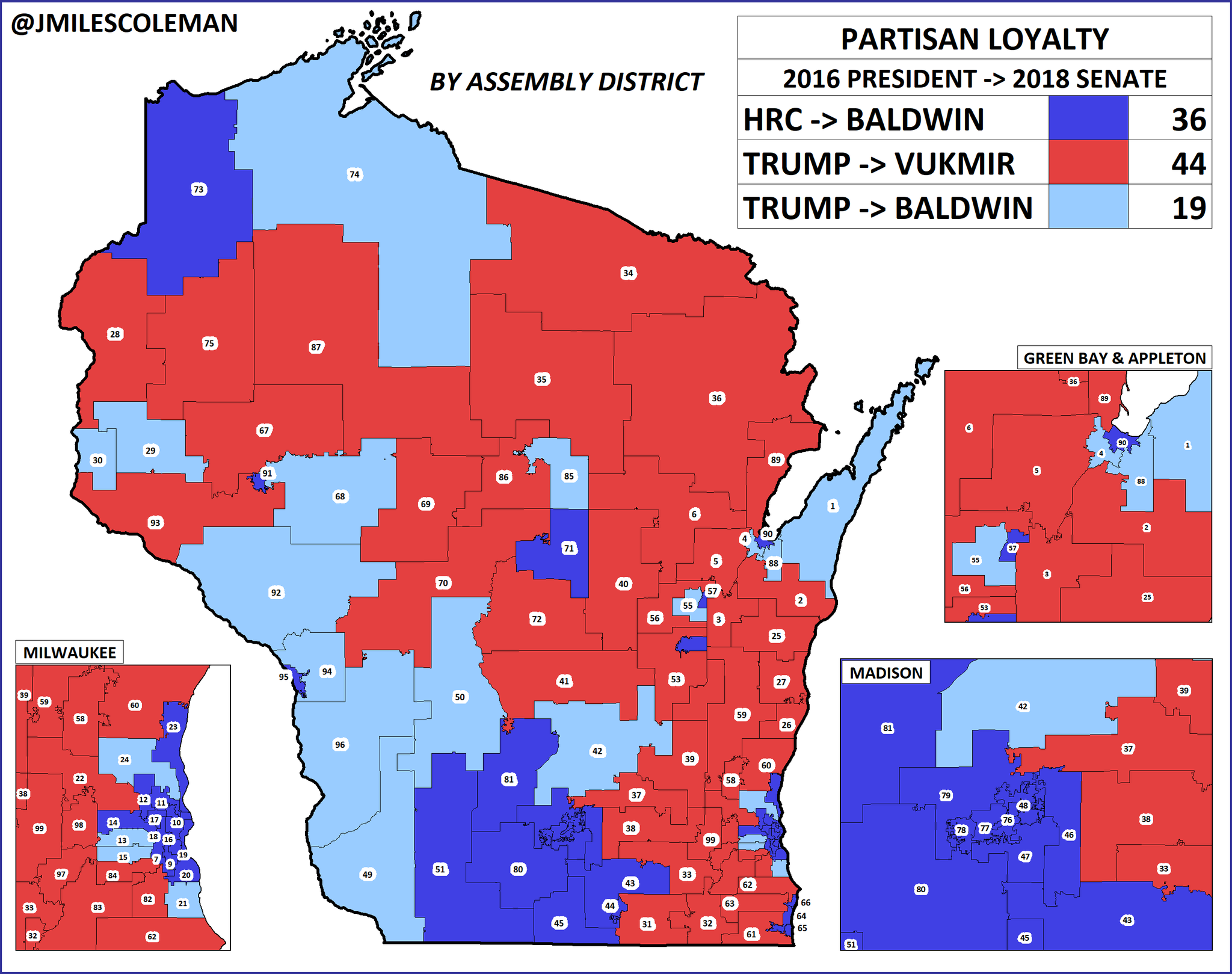 Wisconsin narrowly voted for the President in 2016, but sent @tammybaldwin (D) back to the Senate by 11% last year. Baldwin flipped 19 Assembly Districts (light blue); many of them voted for Obama twice, though she also made significant gains in suburban ADs. #wisen #wipolitics https://t.co/9ahL7PU6SP