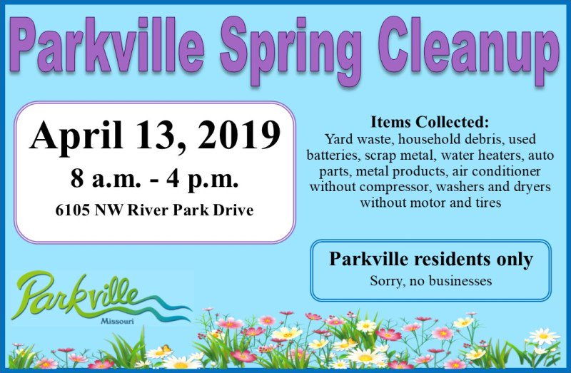 test Twitter Media - Save the date! @parkvillemo will host the annual Spring Cleanup on Saturday, April 13th from 8am to 4pm at 6105 NW River Park Drive. Parkville residents only. Sorry, no businesses. Proof of residency required. https://t.co/yQldAN73o3