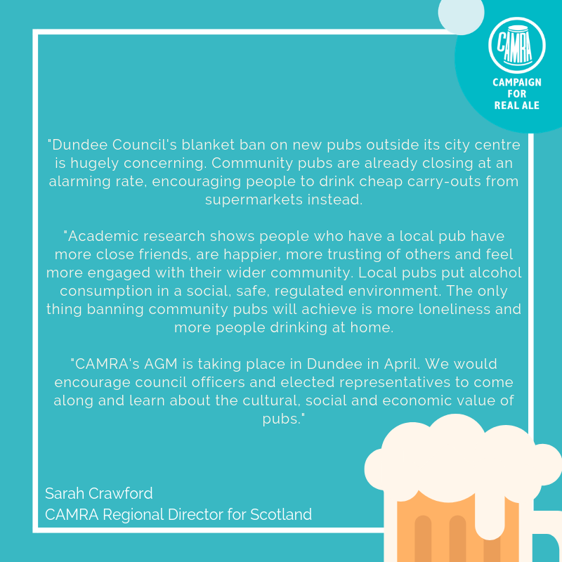 test Twitter Media - Following the news that Dundee City Centre is planning a blanket ban on new pubs outside its city centre, please find below response from CAMRA: https://t.co/lCuwy72zBS