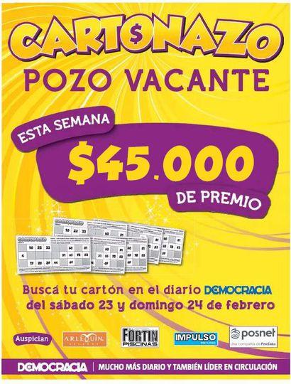 #Cartonazo con pozo recargado: el premio de esta semana es de 45 mil pesos 💵💲💰https://t.co/46cTF3Y5h8 https://t.co/YLVyJVVixp