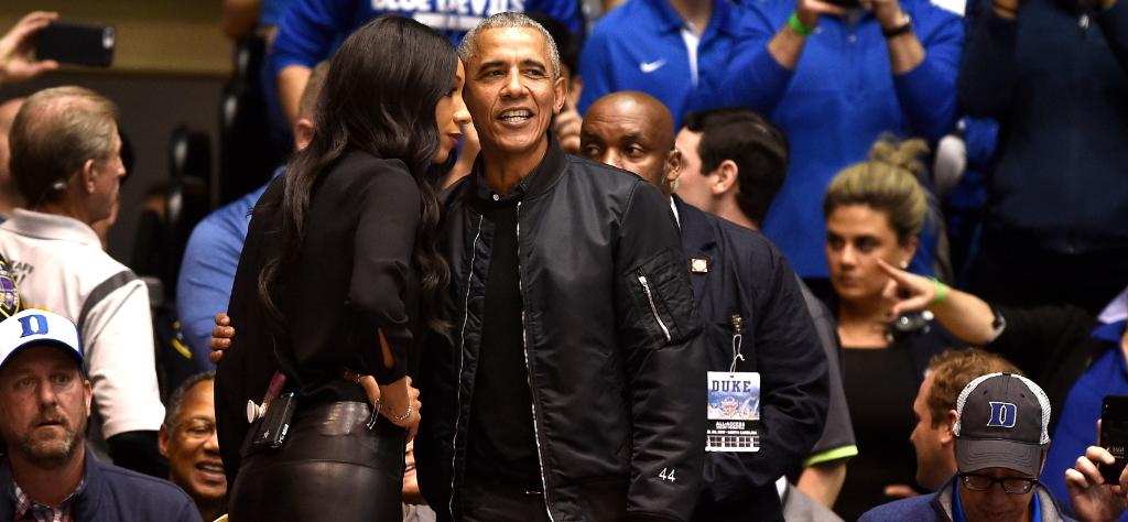 "Barack Obama goes viral in custom ""44"" jacket at Duke-UNC game"