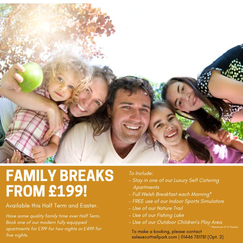test Twitter Media - Looking for somewhere to relax & enjoy time with the Family in the Half Term? We have you covered with breaks from just £199! 👨‍👩‍👧‍👦  Available February Half Term & Easter.  For more info please contact: sales@cottrellpark.com | 01446 781781 (Opt. 2) .  #familygetaway #familyfun https://t.co/JuawmMnm4V