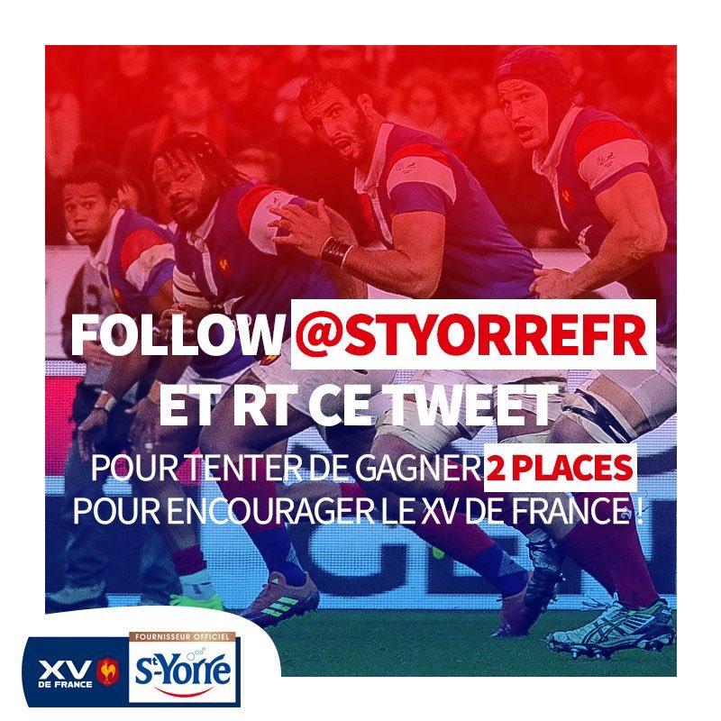 💦💦JEU CONCOURS 💦💦 Prêt à encourager le #XVdeFrance ?   Tentez de gagner 2 places pour FRANCE vs ECOSSE le 23 fév. au Stade de France ! Pour jouer 👉FOLLOW @styorreFR et RT ce tweet 👍🍀 #FRAECO #6nations #SoifDeVictoire