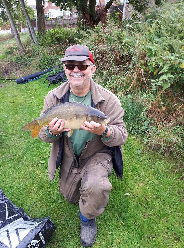 Richard Elshaw with a little carp just over <b>6lb</b> he caught on light bream tackle.  #carp #carp