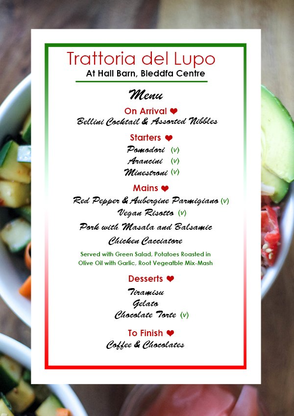 Image for Have you got any plans for Valentine's Night? Take a look at our delicious menu for 'Trattoria del Lupo' on Thursday evening. Email hello@bleddfacentre.org or call 01547 550 377 to reserve your table! #valentines #datenight #meal #menu #food #BleddfaCentre #Powys #MidWales https://t.co/3HnMOF27oU