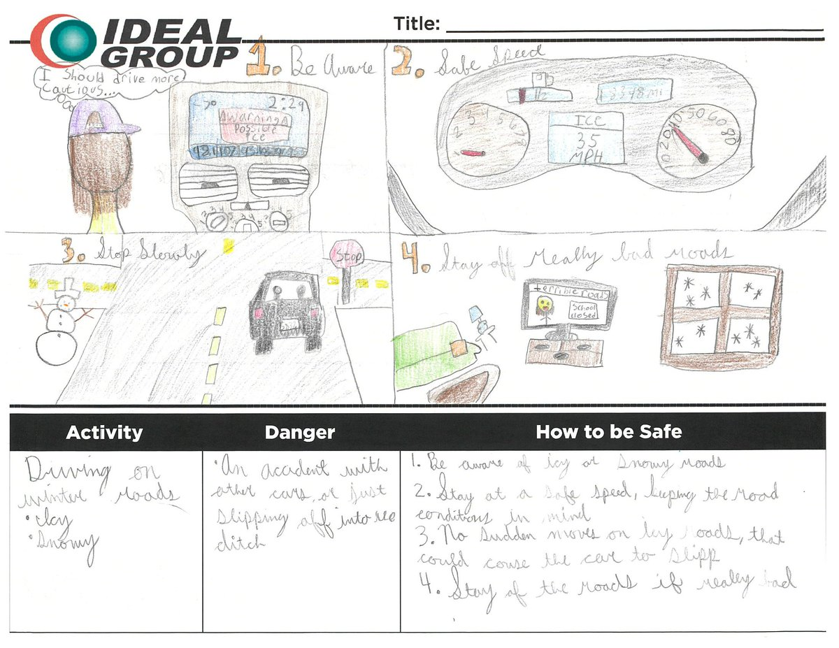 test Twitter Media - Days like today remind us to take extra precautions when driving. This year Ideal employee families put together Pre-task Plans to show how their loved ones can stay safe and aware on the winter roads.  #winter #winterroads #safety #safedriving https://t.co/RoncdMJyUO