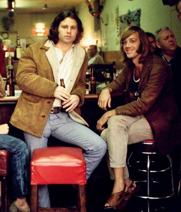 Happy Birthday Ray  Jim Morrison & Ray Manzarek at the original Hard Rock Cafe (1969)