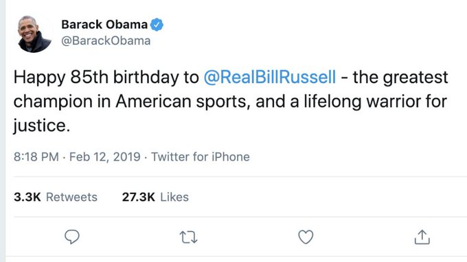 Obama wishes NBA legend Bill Russell happy birthday