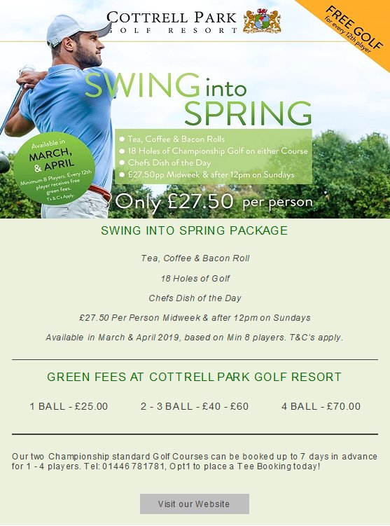 "test Twitter Media - ""Spring is the time of plans and projects.""  ― Leo Tolstoy, Anna Karenina  ..so plan your Society Golf Day with us today for £27.50pp! 🏌️‍♂️  For more information or availability; T: 01446 781781Opt2 