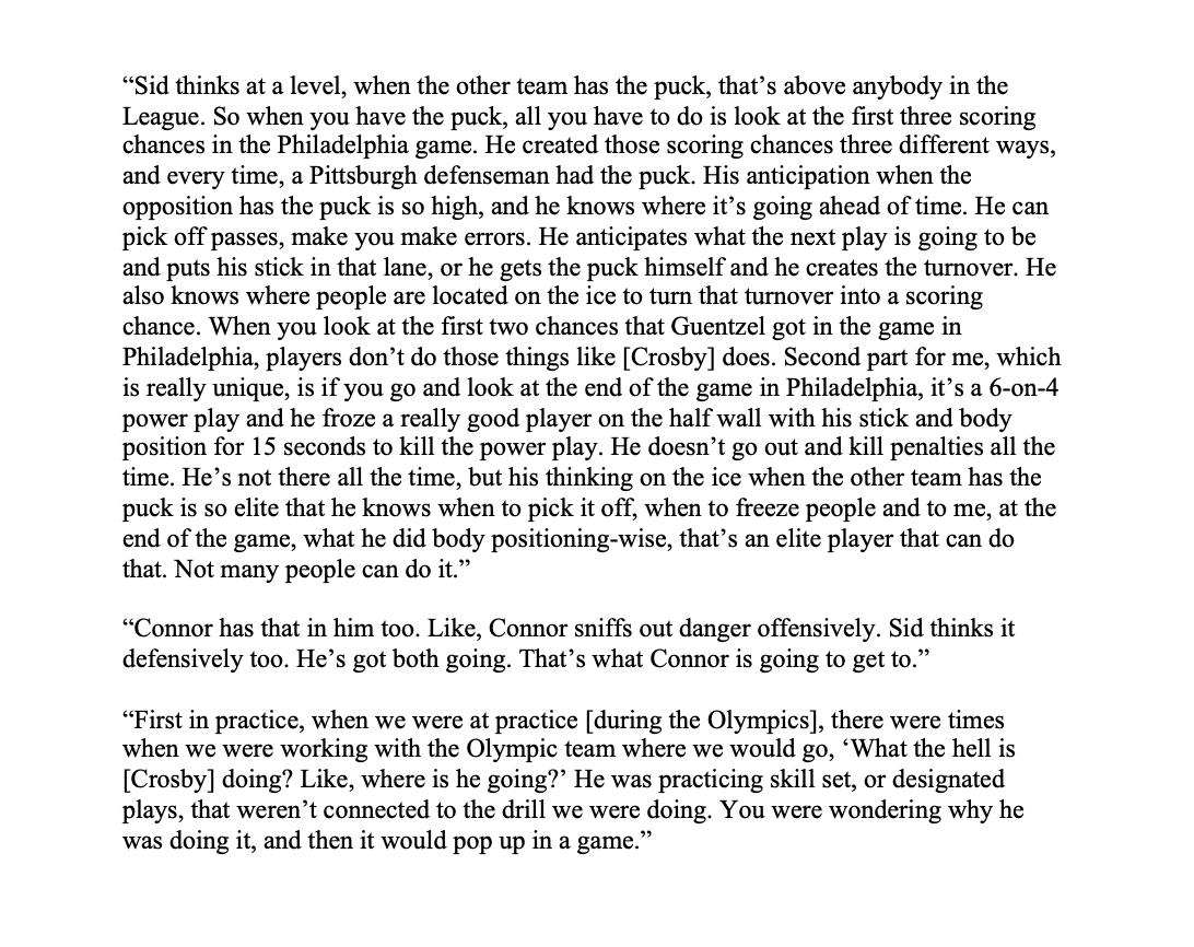 RT @OtherNHLCrosby: Ken Hitchcock on what Connor McDavid can learn from Sidney Crosby: https://t.co/lhVZof3bYb