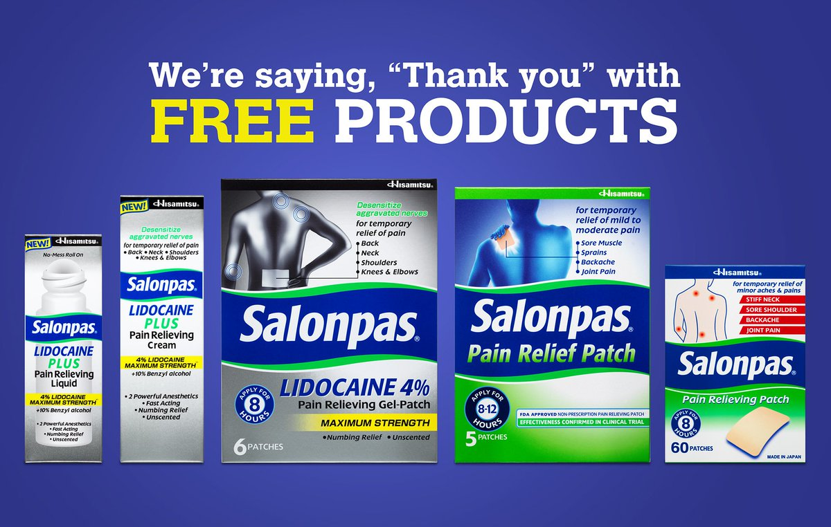 RT @salonpas: RT, post about Salonpas for chance to win full product suite!  US only. https://t.co/rRMmqsk0xw
