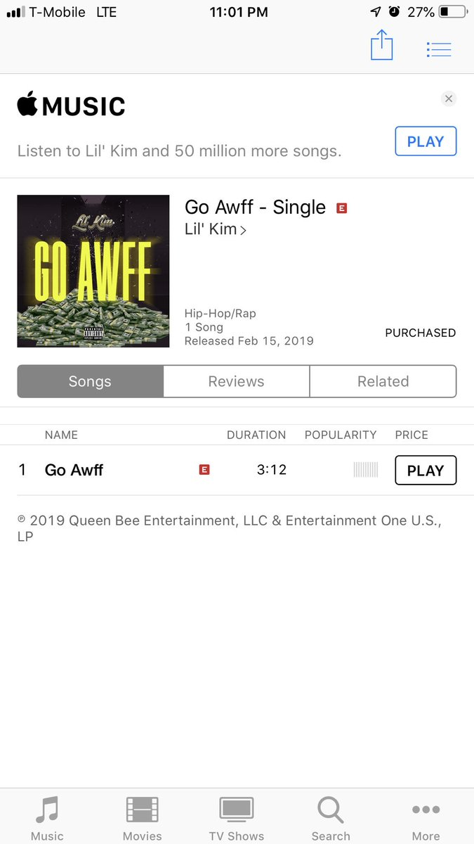 "RT @kimbeehive: @LilKim ""Go Awff"" out now!! ???????????? https://t.co/JERNBg2W5y"