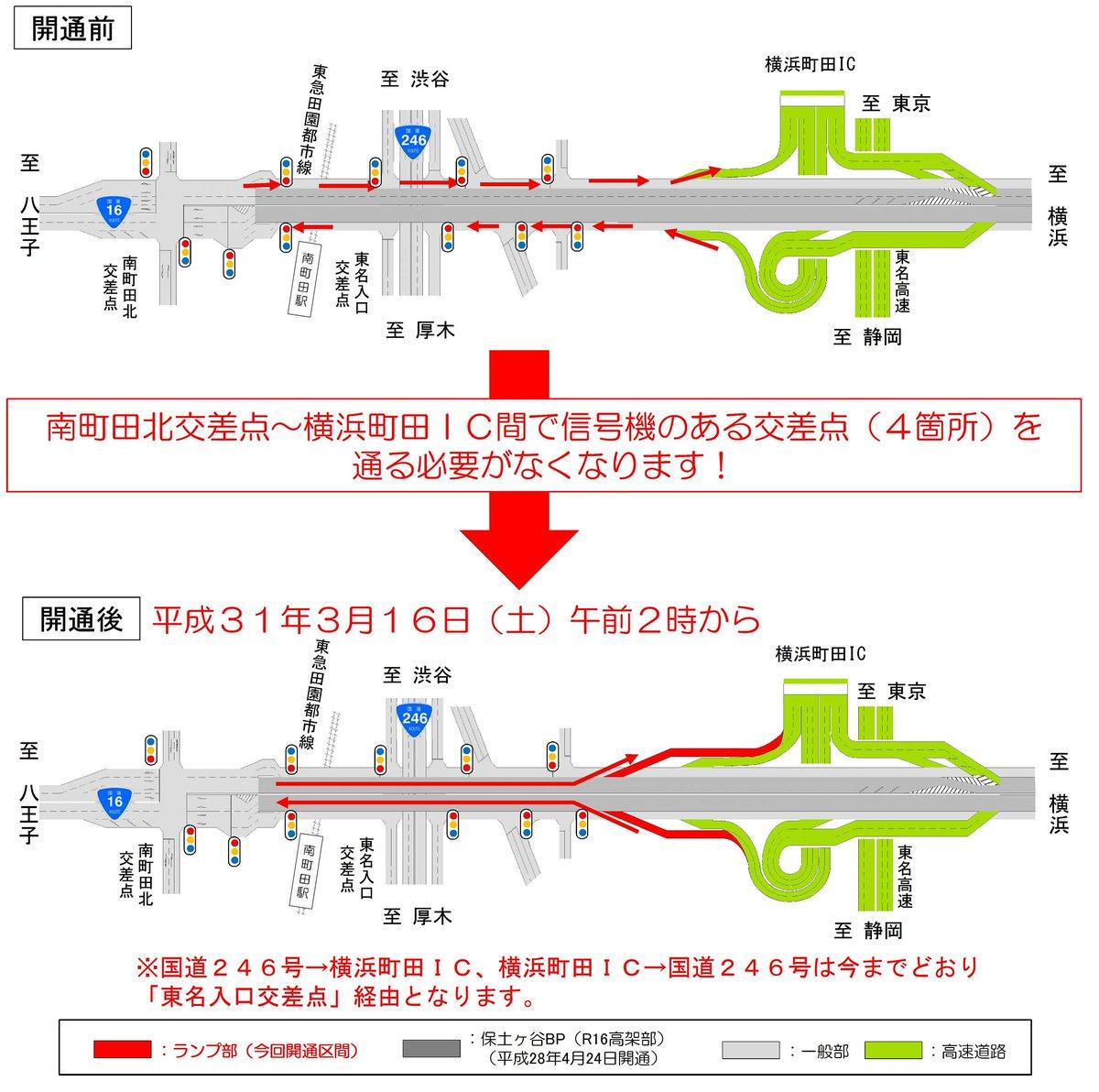 test ツイッターメディア - 平成31年3月16日(土)午前2時、国道16号保土ヶ谷バイパス(八王子側)と東名高速が直結します! 今回の開通で、国道16号八王子方面と東名高速・横浜町田ICのアクセスがさらに便利になります!! 詳しくは→https://t.co/nXmhNzDHyY https://t.co/pBqprn6bqV