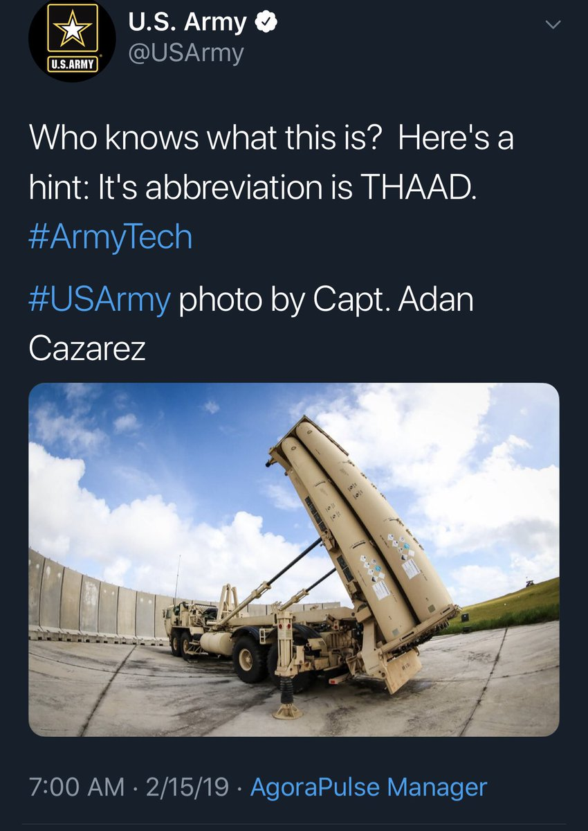 Interesting post by @USArmy this morning. THAAD is Terminal High Altitude Aerial Defense. An anti-ballistic missile defense system for short, medium, and intermediate range ballistic missiles.   Coincidence?   #QAnon #GreatAwakening #WWG1WGA