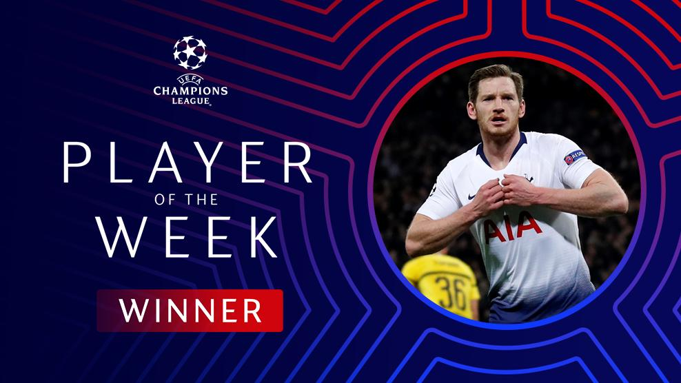 RT @SpursOfficial: 👊 @JanVertonghen has been voted #UCL Player of the Week! 👏  #COYS https://t.co/iwnsZaAWCc