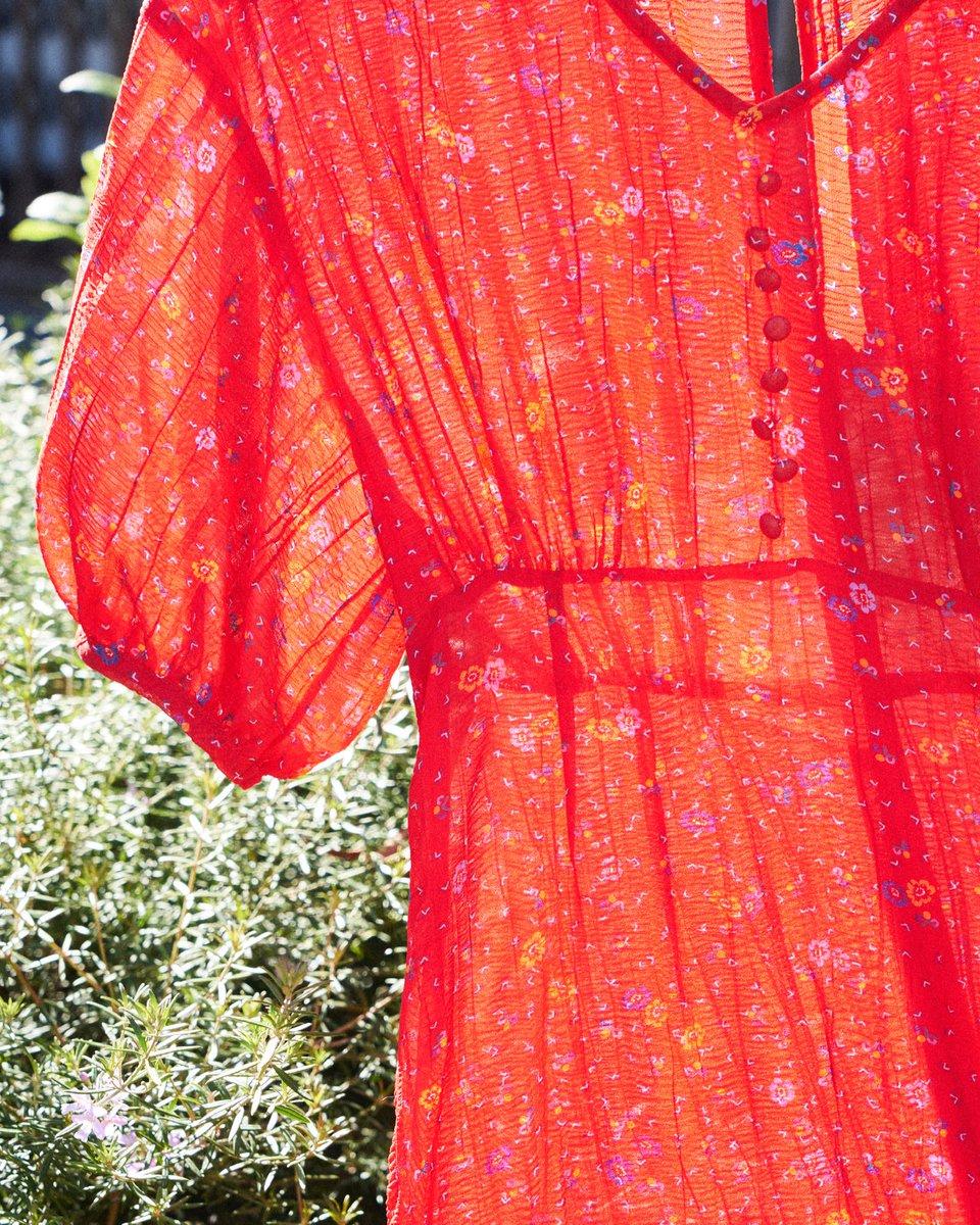小花柄ワンピース  ¥12,800+tax ワッシャー風の表面感のある素材とヴィンテージライクな小紋柄がポイントのワンピース。 https://t.co/yQRUtLlSgp #lilybrown #リリーブラウン #店頭入荷中 https://t.co/KvTFg5QqJo