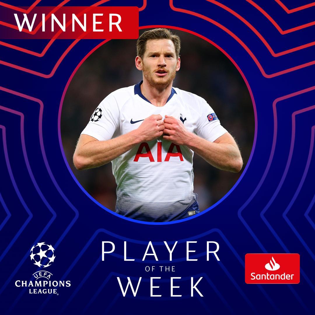 RT @ChampionsLeague: 🔥 A goal & an assist at Wembley Stadium...   #UCL Player of the Week = Jan Vertonghen 👏👏👏 https://t.co/RwurTaOKHB