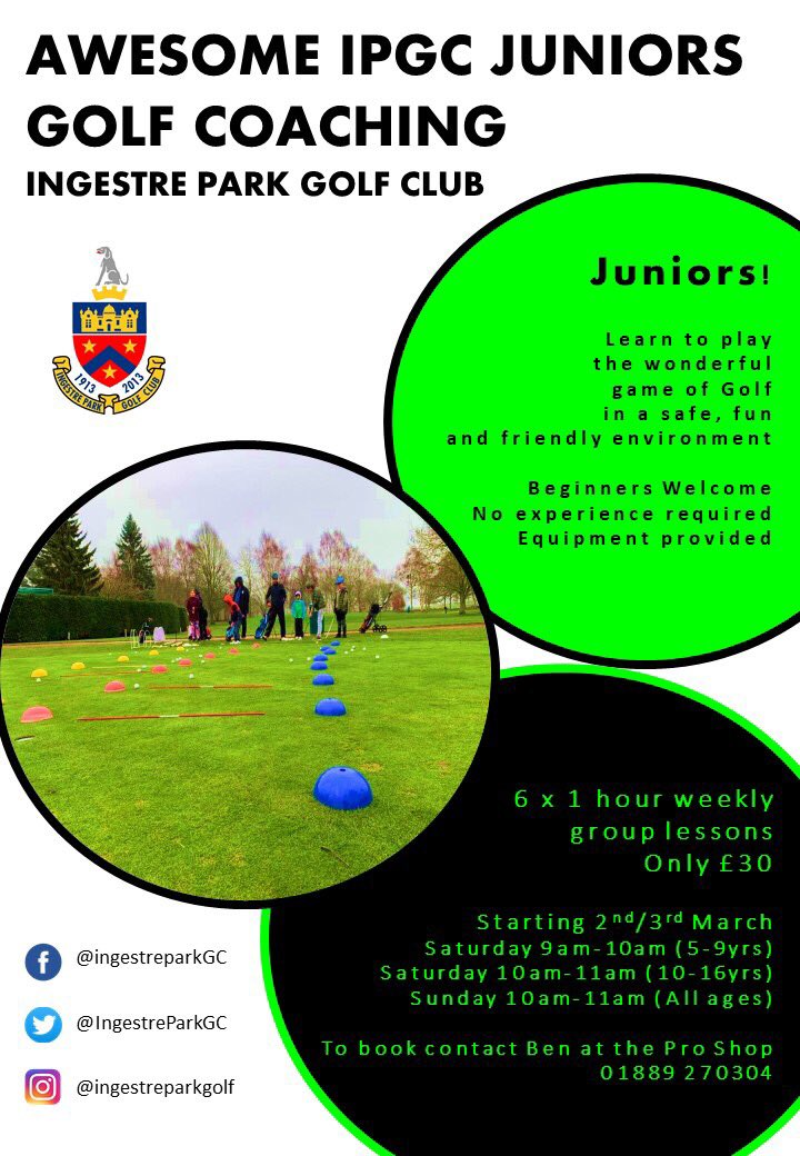 """test Twitter Media - Spring is just around the corner and there is no better time for Juniors to Get into golf !  The start of the next 6 week """"Awesome IPGC Juniors"""" Golf Coaching is 2nd/3rd March  @MidlandsGolfer @EnglandGolf @GolfRootsHQ @EGWomensGolf @staffsgolf @GirlsGolfRocks1 @thejazzygolfer https://t.co/v3uoi9BAvt"""