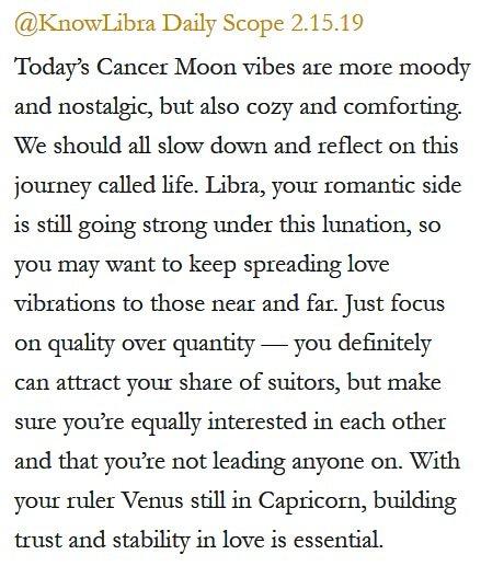 Daily Horoscope for #Libra 2.15.19 ♎❤️✨ #Horoscope #Astrology #TeamLibra #KnowTheZodiac https://t.co/wdhHgqSYtw