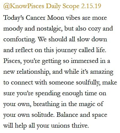 Daily Horoscope for #Pisces 2.15.19 ♓❤️✨ #Horoscope #Astrology #TeamPisces #KnowTheZodiac https://t.co/fMSUBJ83vh