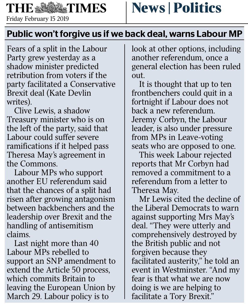 "RT @emcmillanscott: ""Public won't forgive us if we enable #Brexit"" warns Labour MP Clive Lewis @peoplesvote_uk https://t.co/BKrFbyvzkH"