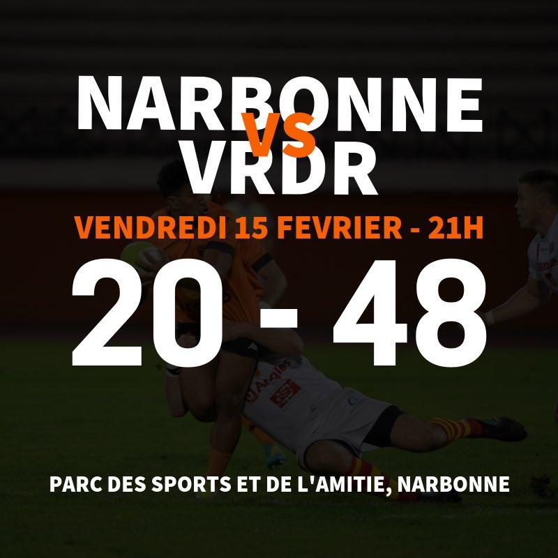 #RCNMVRDR   FIN DU MATCH   Narbonne s'incline 20-48 contre Valence-Romans !  Un...