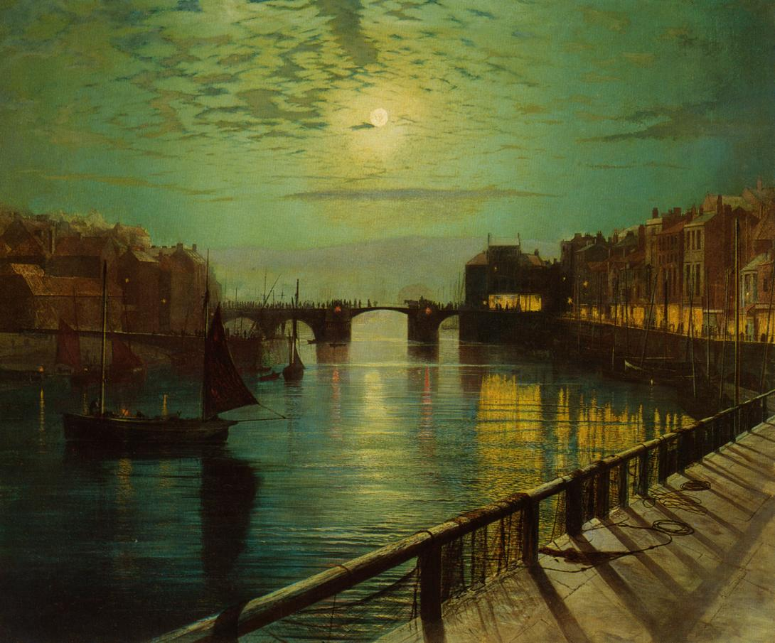 Whitby Harbor by Moonlight #johngrimshaw #atkinsongrimshaw https://t.co/NsKJGwd5Hg