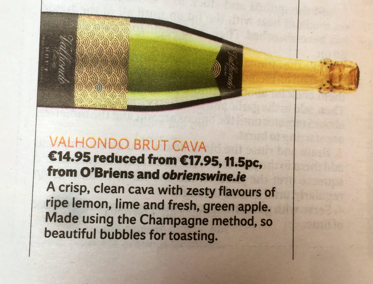 Thanks @CorinaHardgrave for the #Cava recommendation from @OBriensWine in today's @Independent_ie. https://t.co/NGHpzQJuyN
