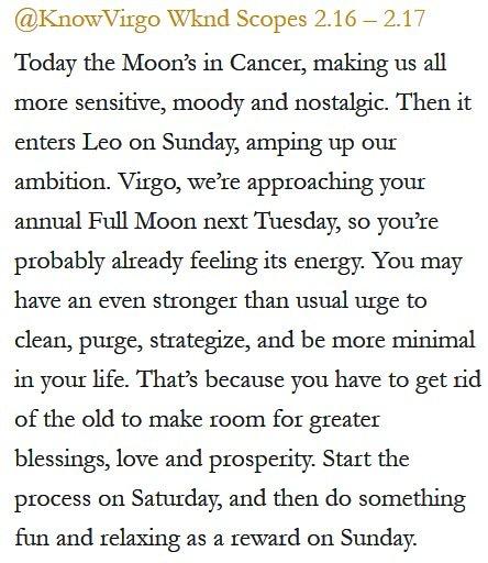 Daily Horoscope for #Virgo 2.16.19 ♍️❤️✨ #Horoscope #Astrology #TeamVirgo #KnowTheZodiac https://t.co/p1Iz03vHl0