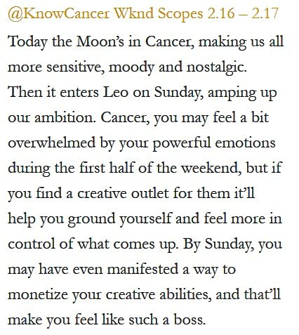 Daily Horoscope for #Cancer 2.16.19 ♋❤️✨ #Horoscope #Astrology #TeamCancer #KnowTheZodiac https://t.co/e5bBU5jFQi