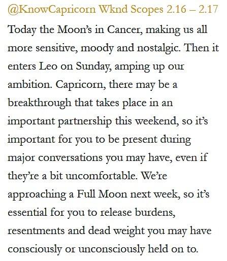 Daily Horoscope for #Capricorn 2.16.19 ️♑❤️✨ #Horoscope #Astrology #TeamCapricorn #KnowTheZodiac https://t.co/MtUjneDRPD