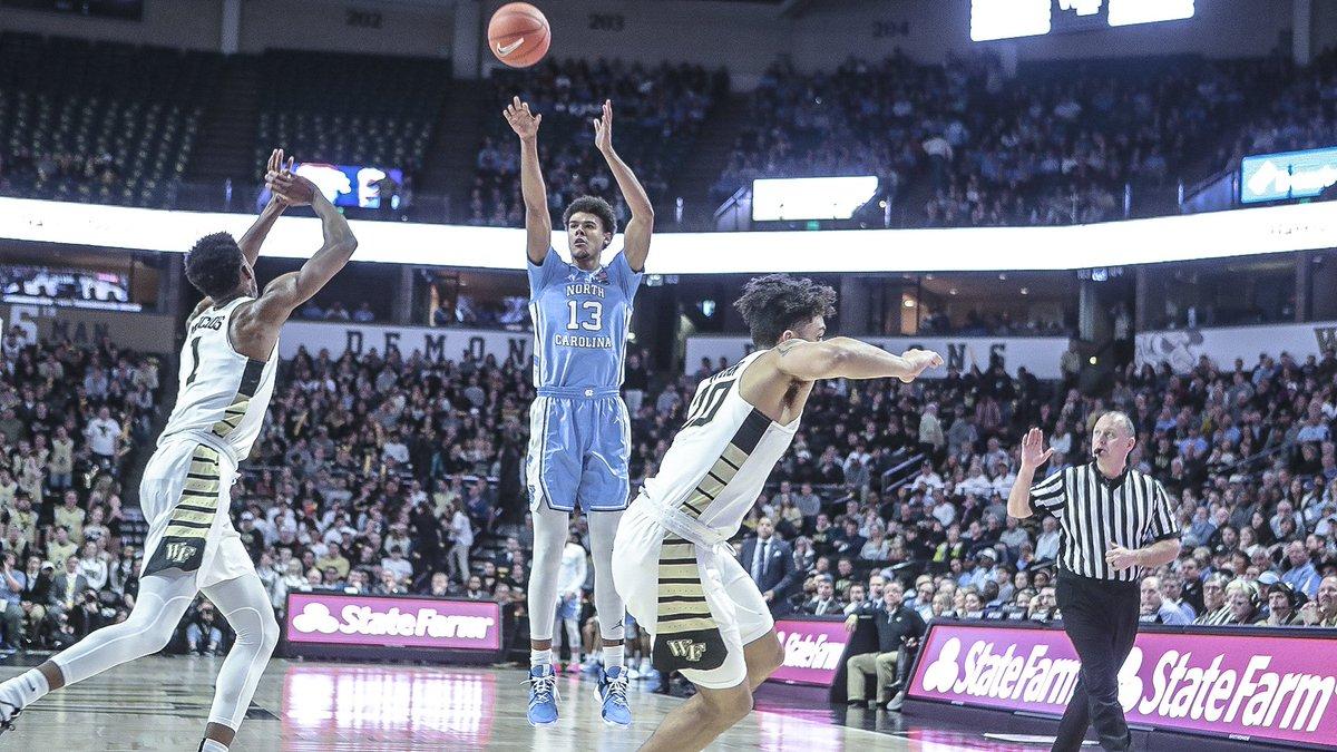 RT @UNC_Basketball: Sharpshooter Cam Johnson   1⃣0⃣- 1⃣2⃣ FG 2⃣7⃣pts  UNC 81   WF 45 #CarolinaSZN https://t.co/MTYlNsTB9p