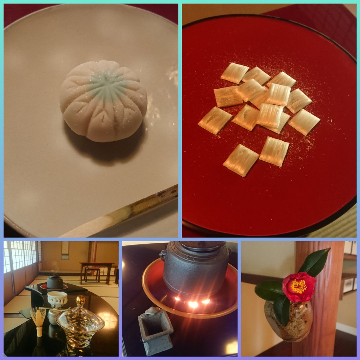 test ツイッターメディア - 卒業茶会2019③ お点前は即中斎好みの末広棚。 お菓子は美濃忠製 下萌え。 干菓子は九重本舗玉澤 霜ばしら。 替茶碗に小野穣作 猪目。 雪だるまをイメージした手あぶりも好評でした。 #中京大学 #茶道部 #春から中京 https://t.co/OfhSnMkXJ4
