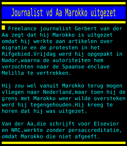 test Twitter Media - Journalist vd Aa Marokko uitgezet https://t.co/KtuSW4DQMg