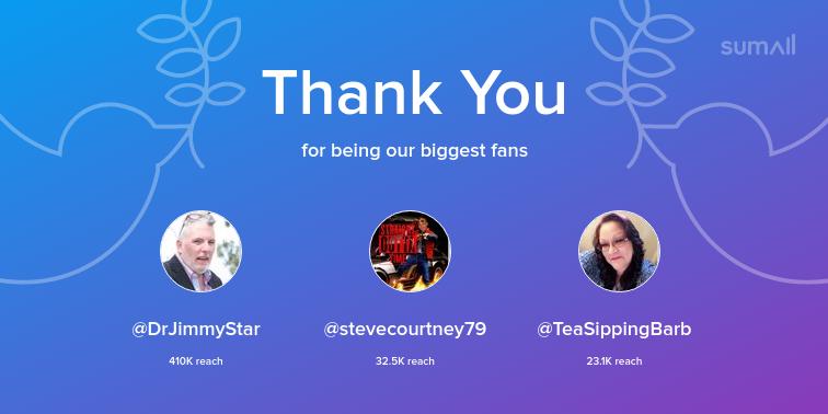 Our biggest fans this week: @DrJimmyStar, @stevecourtney79, @TeaSippingBarb. Thank you! via https://t.co/9rmEix98cp https://t.co/m7dM1l1zs2