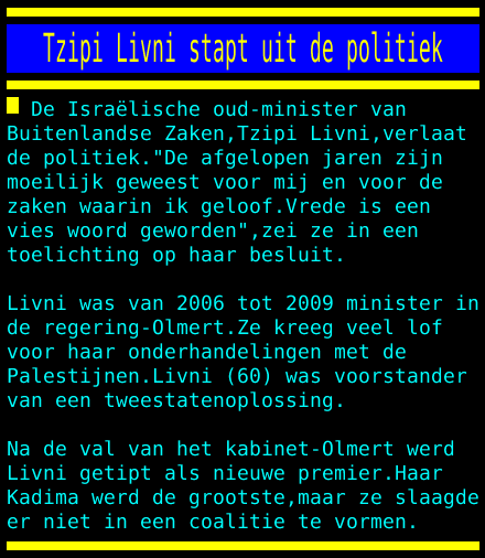 test Twitter Media - Tzipi Livni stapt uit de politiek https://t.co/ISkxyUISqJ
