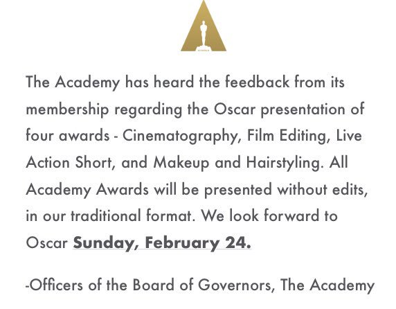 Thank you and applause to the board of governors of @TheAcademy . https://t.co/uMJyJIrLVS