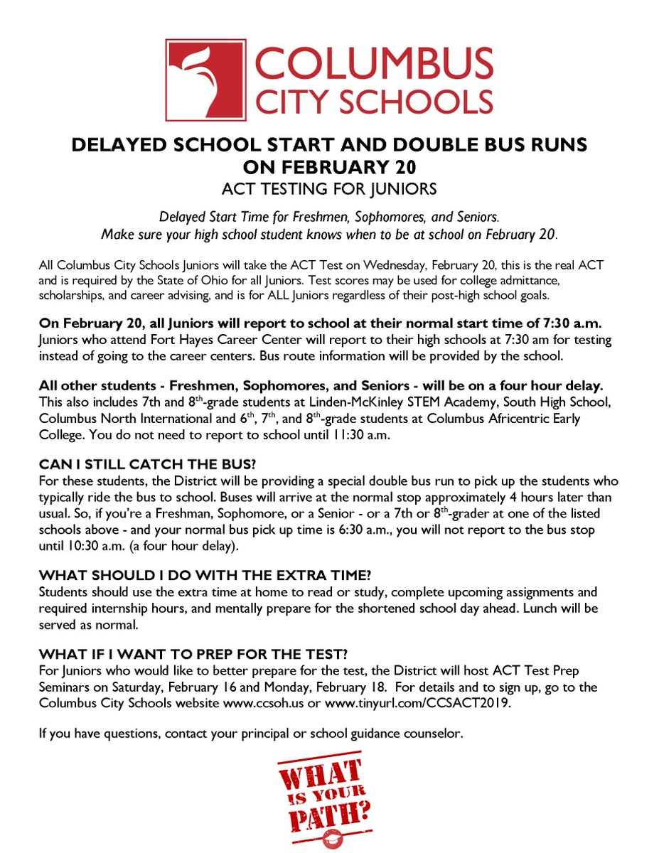 test Twitter Media - RT @ColsCitySchools: REMINDER: DELAYED START AND DOUBLE BUS RUNS FOR HIGH SCHOOLS ON FEBRUARY 20. https://t.co/sU7mRox9mU