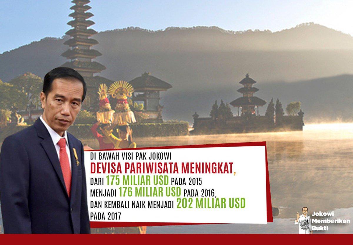 Devisa pariwisata terus meningkat,di bawah visi bapak jokowi. #JokowiMemberikanBukti  #01JokowiLagi https://t.co/fr16nn8h9r