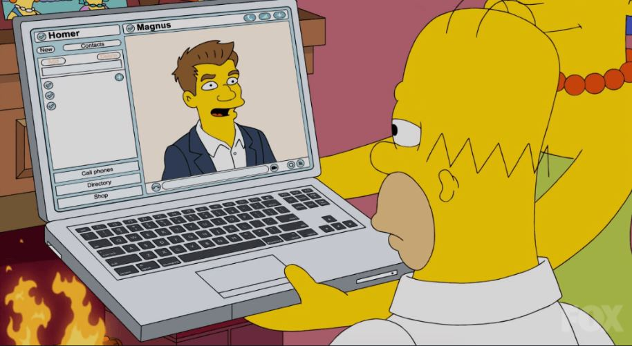 "test Twitter Media - Two years ago today aired the 611th episode of @TheSimpsons with @MagnusCarlsen cameo.  ""Homer, I'm afraid you cannot run away from chess,"" says Carlsen through the computer screen. Isn't it true for every chess fan? #chess #animation #cameo #simpsons #homersimpson https://t.co/GikmIfECvb"
