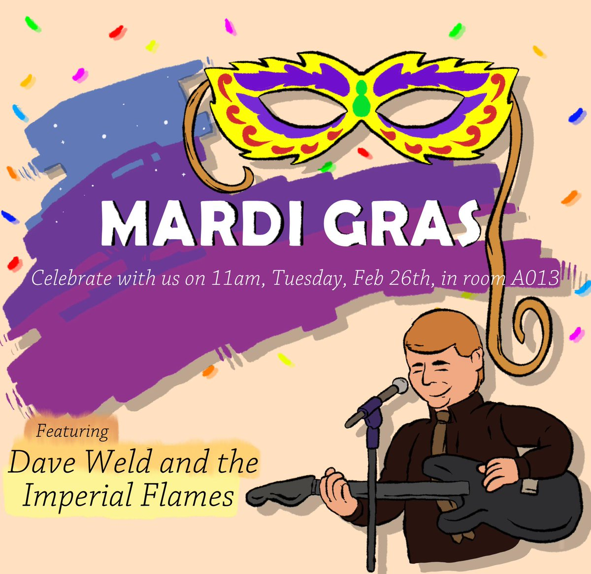 """test Twitter Media - Celebrate Mardi Gras with us!   We will be serving """"dirty rice"""" and """"jerk chicken"""", along with some jams provided by Dave Weld!   Come down to room A013 at 11pm on Tuesday, February 26th to have a blast! https://t.co/Tomuh0oQzf"""