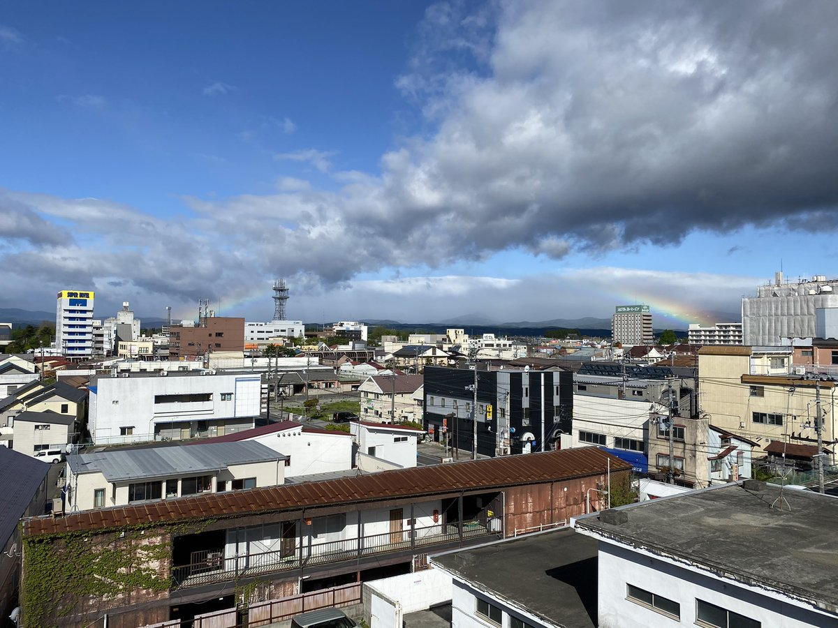 test ツイッターメディア - おはようございます!  今朝の #十和田市 は晴れ☀️時々曇り☁️ 朝早く雨が降ったせいか、市内に虹🌈がかかってました✨😆  #八戸 方面は同じような天気でしょうか☀️☁️ #八甲田 方面は山に雲がかかっていますね☁️  今日も一日頑張りましょう💪  #イマソラ #企業公式が毎朝地元の天気を言い合う https://t.co/OJq5ZLjxjv