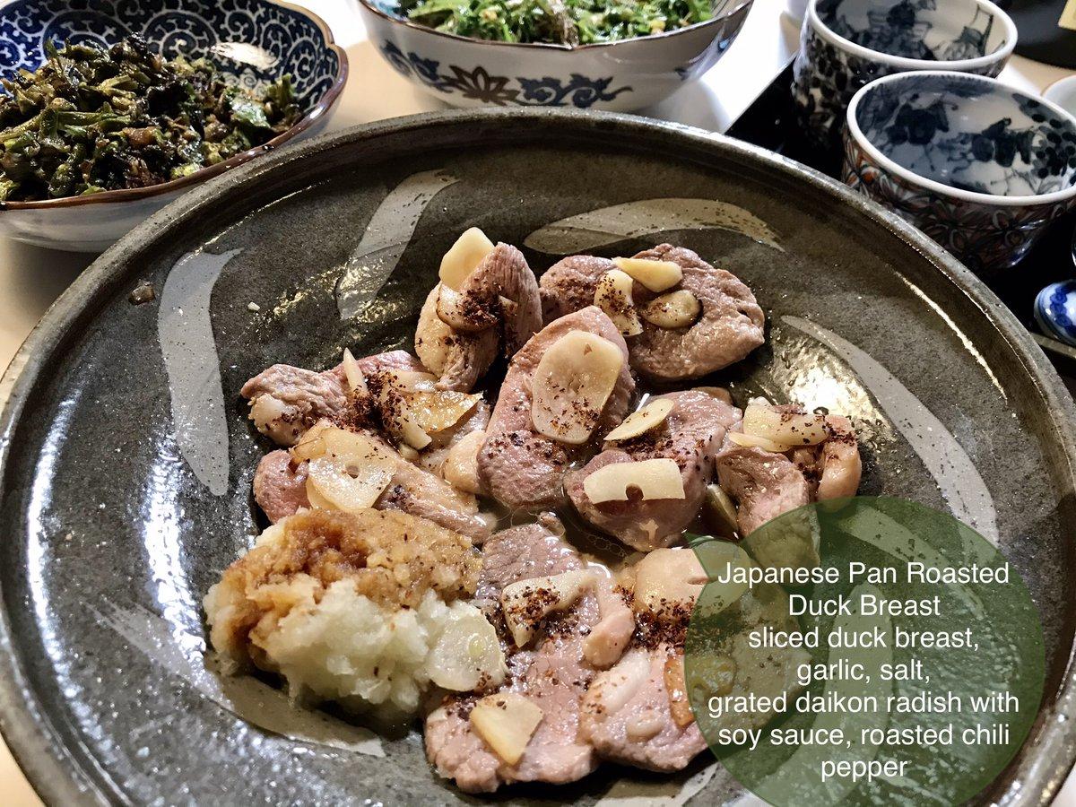 test ツイッターメディア - #Weekenddinner #Japanesecouisine 週末の晩ごはん 鴨胸肉スライスと🧄を塩焼き 醤油下ろし大根と京都の黒一味をかけて 残った油と鴨のエキスに、こごみと田芹を入れ塩、日本酒を加え炒め煮 フライパンはそのままで蕗の薹は甘辛炒め あっという間に完成 山菜の苦味が、鴨の脂を中和してくれて食が進む https://t.co/2lgb1F0USR